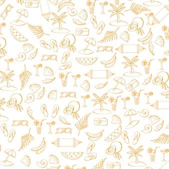 Zomer patroon met vakantie en reizen pictogrammen