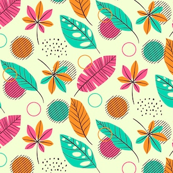 Zomer patroon sjabloon met tropische bladeren