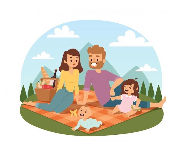 Zomer picknicken met het gezin