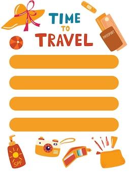 Zomer planner sjabloon. tijd om te reizen. goede organisator en planning. lijst met items of aankopen. zomerwens, to do lijst. trendy vakantieconcept. vectorillustratie in cartoon-stijl.