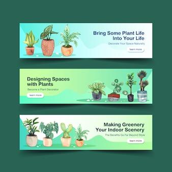 Zomer planten banner sjabloon ontwerp brochure, folder, adverteren en boekje aquarel illustratie
