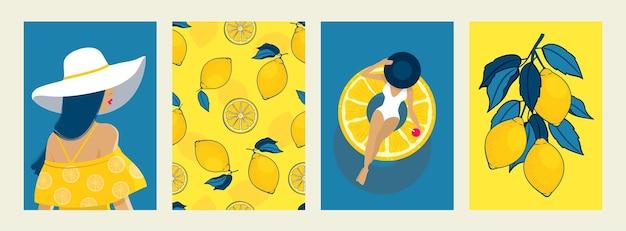 Zomer poster set: meisje in een hoed, opblaasbare cirkel, zee, zonnige dag, citroenen