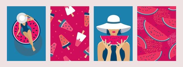 Zomer poster set: meisje in een hoed, opblaasbare cirkel, zee, zonnige dag, watermeloen, ijs