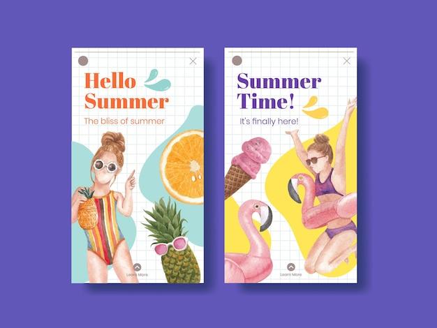 Zomer poster sjabloon met zomerse vibes Premium Vector