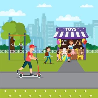 Zomer recreatie in park platte vectorillustratie