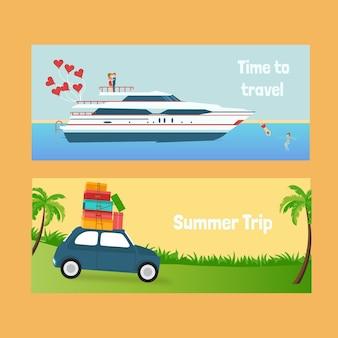 Zomer reis banners met een cruise