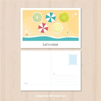 Zomer reizen ansichtkaart met platte ontwerp