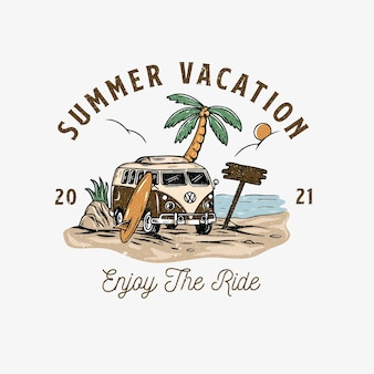 Zomer reizen illustratie met vintage bus strand concept logo zomer toerisme reizen reis en su