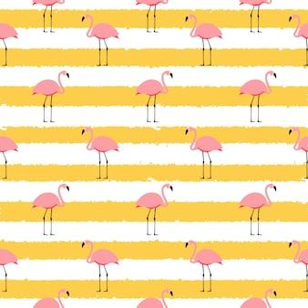 Zomer roze flamingo naadloze patroon achtergrond. illustratie