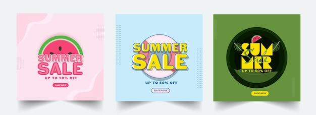 Zomer sale poster of sjabloonontwerp met 50 kortingsaanbieding in drie kleuropties.