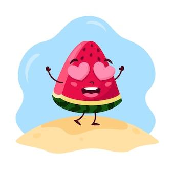 Zomer schattig kawaii watermeloen karakter. vector illustratie. cartoon-stijl.