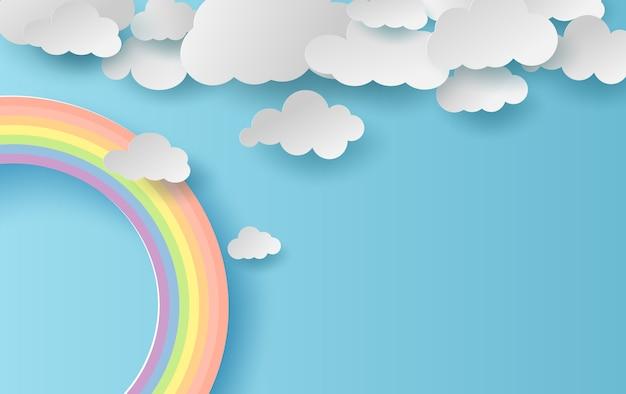 Zomer seizoen landschap met een regenboog