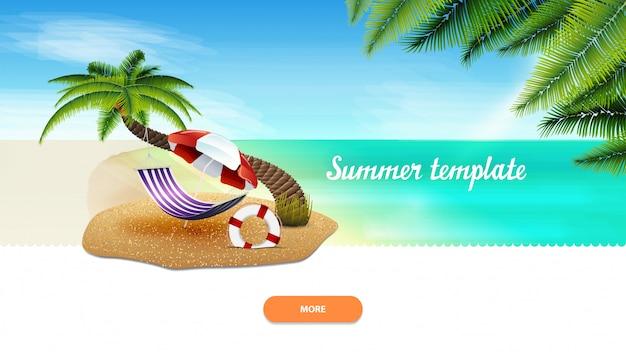 Zomer sjabloon voor uw creativiteit met palmboom, hangmat en parasol