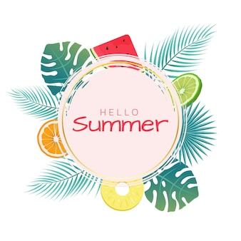 Zomer social media postsjabloon met elementen van palmbladeren oranje limoen watermeloen