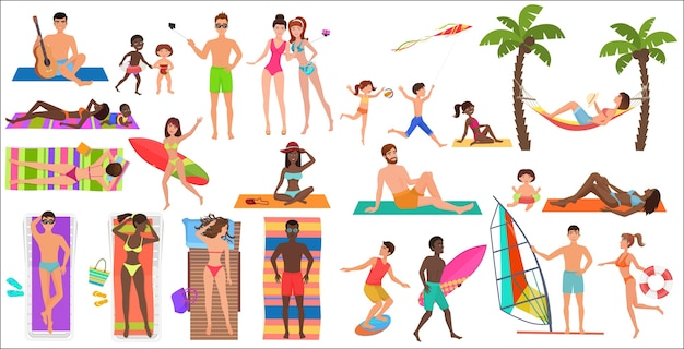 Zomer strand cartoon mensen ontspannen activiteiten instellen afbeelding