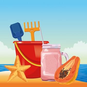 Zomer strand en vakantie cartoon