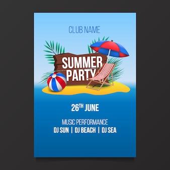 Zomer strand partij poster flyer met illustratie van het eiland