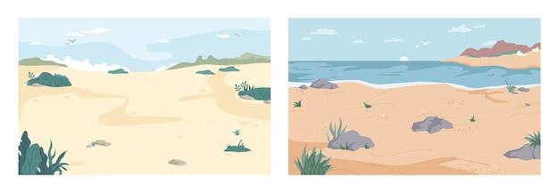 Zomer strand set kust kust kustlijnen set