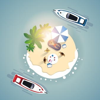 Zomer strand vakantie instellen zand tropisch eiland vakantie banner