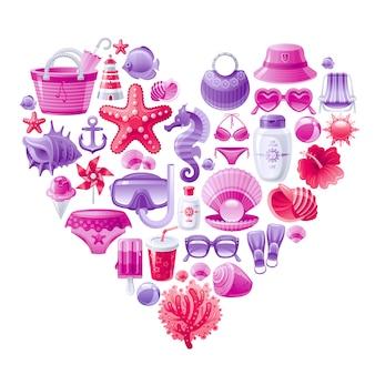 Zomer strand vector set, hart vorm met roze rode zee vakantie symbolen - hoed, zonnebrandcrème, zeepaardje, strandtas, cocktail, zonnebril, bloem.