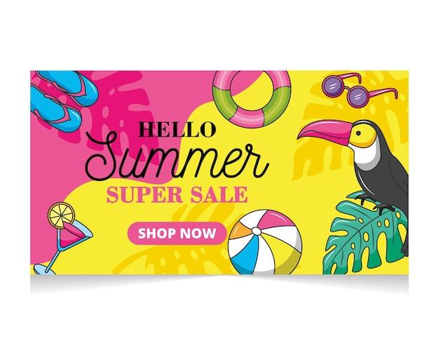 Zomer super sale banner met toekan en andere zomerelementen. winkel nu