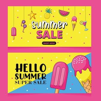Zomer super sale banners set met ijs en drankjes