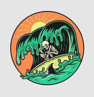 Zomer surfschedel geniet van de golven met haaien rondom