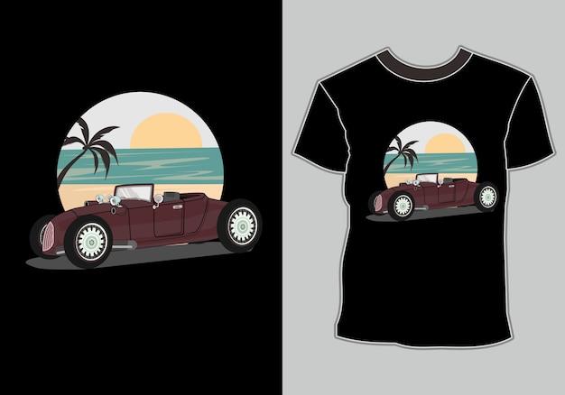 Zomer t-shirt, klassieke, vintage, retro auto's zijn op het strand
