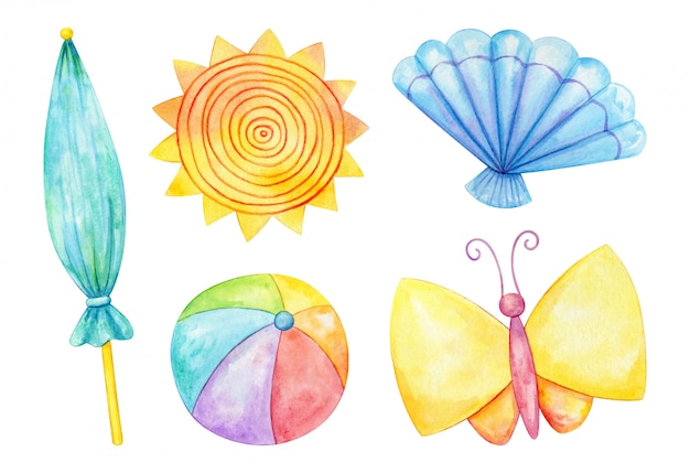 Zomer thema aquarel clip art set
