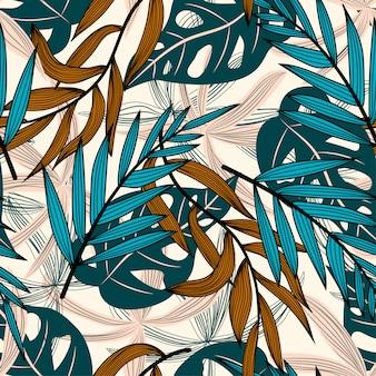 Zomer trend naadloos patroon met kleurrijke tropische bladeren en bloemen