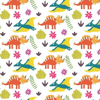 Zomer tropisch blad dinosaurus naadloos patroon