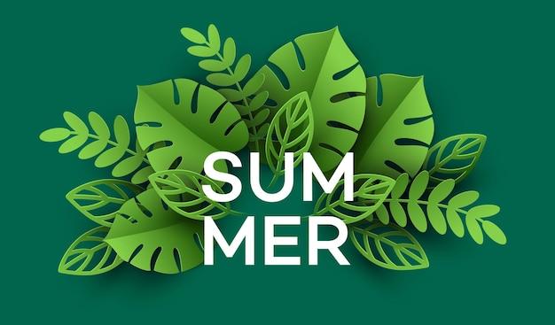Zomer tropisch blad. papier gesneden stijl.