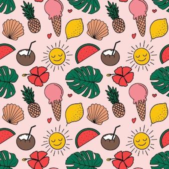 Zomer tropisch naadloos patroon in de illustratie van de krabbelstijl