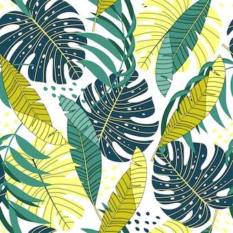 Zomer tropisch naadloos patroon met gele en groene bladeren en planten