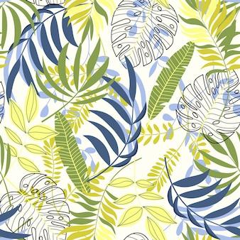 Zomer tropisch naadloos patroon met planten en bladeren