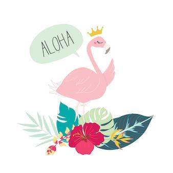 Zomer tropisch ontwerp met schattige flamingo.