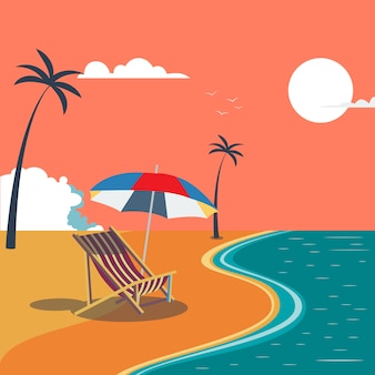 Zomer tropisch strand met palmbomen en paraplu