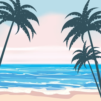 Zomer tropische achtergrond met exotische palmbladen en planten, kust golven surfen zee, oceaan. trend stijl ontwerp