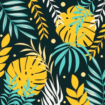 Zomer tropische achtergrond met planten en bladeren