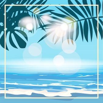 Zomer tropische achtergrond sjabloon met exotische palmbladeren en planten, kust golven surfen zee, oceaan