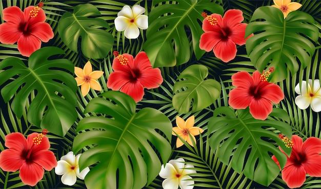 Zomer tropische achtergrond. tropische bloemen en monstera bladeren, palmbladeren van tropische planten geïsoleerd op zwarte achtergrond.