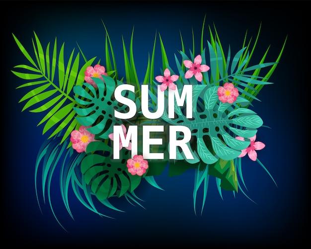 Zomer tropische bladeren exotische planten palm jungle blad. trending kleuren op donkere achtergrond sjabloon banner