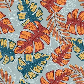 Zomer tropische bladeren in naadloze patroon met hand getrokken stijl