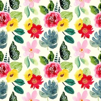 Zomer tropische bloemen aquarel naadloze patroon