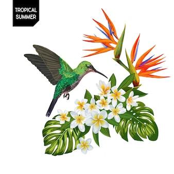 Zomer tropische kolibrie en bloemen