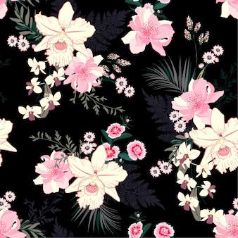 Zomer tropische nacht bloeiende bloemenstemming naadloos