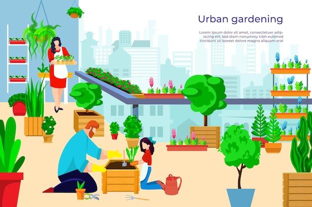 Zomer tuinieren mensen bij balkon illustratie