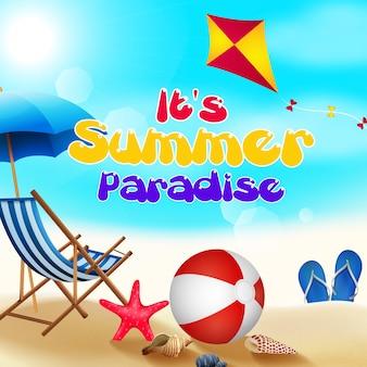 Zomer vakantie banner met zomer uitzicht op het strand Premium Vector