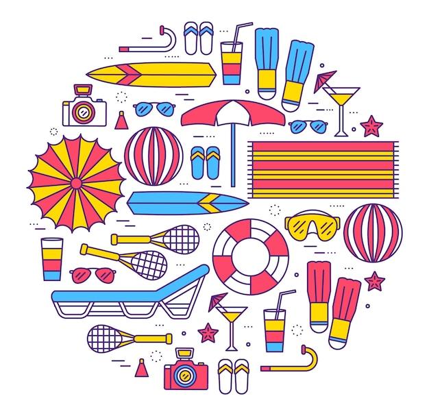 Zomer vakantie cirkel concept in dunne lijnen stijl ontwerp