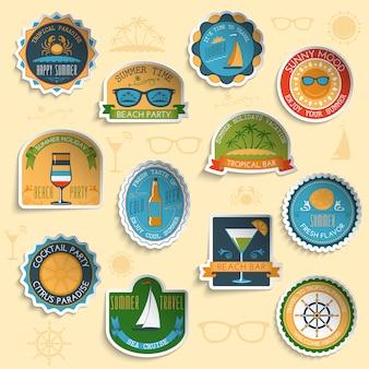 Zomer vakantie emblemen stickers instellen